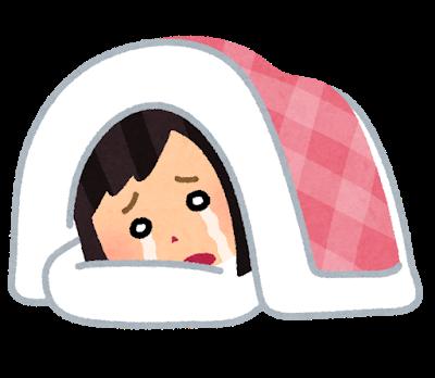 泣き寝入りする女性のイラスト